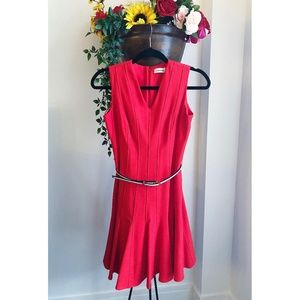 CALVIN KLEIN RED PLEATED DRESS NWOT